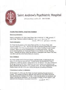 Harry Potter psychiatric report